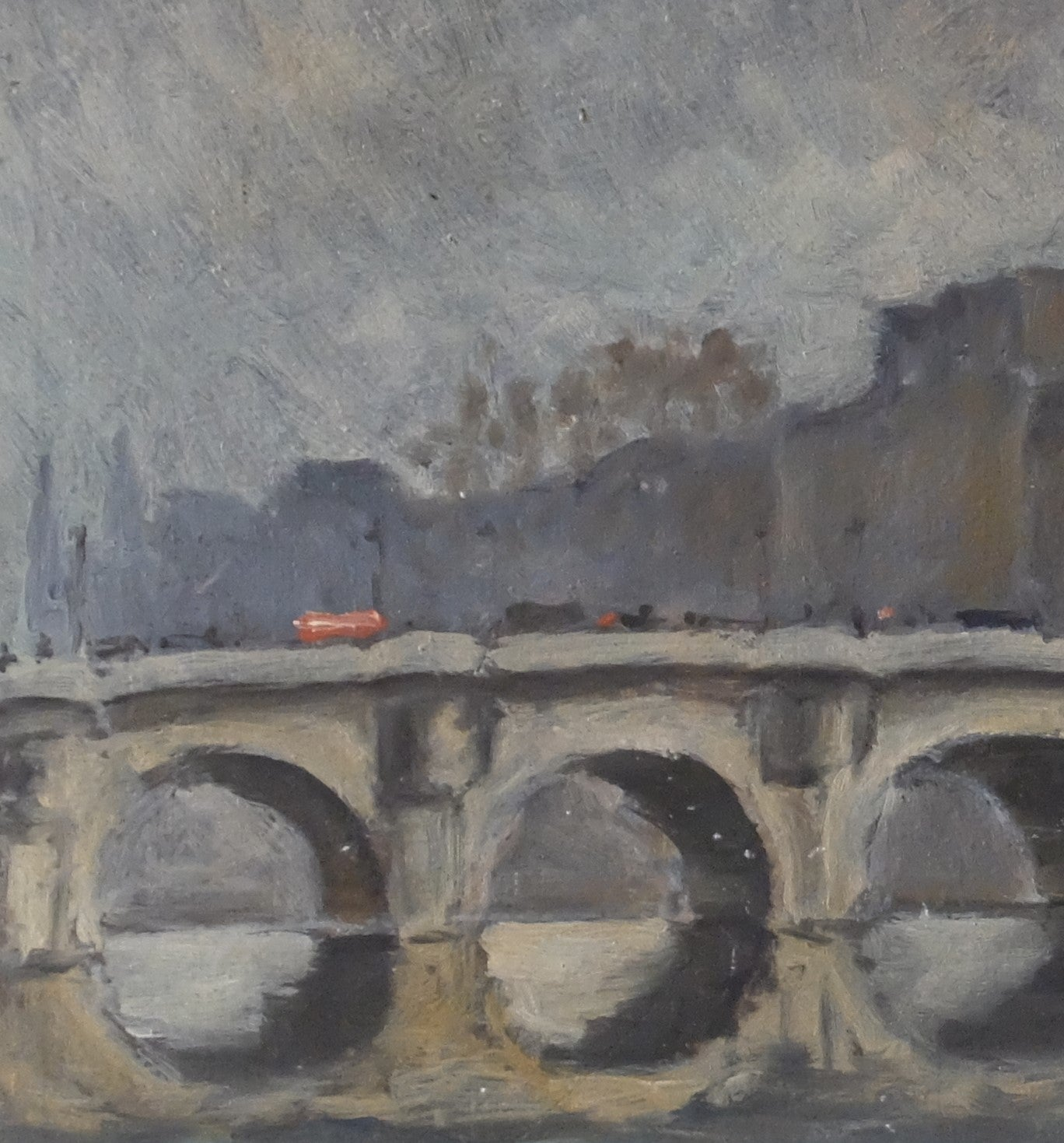 Original Oil Painting : A Fisherman near the Pont Neuf Bridge