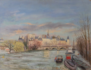 Original Oil Painting : Vue de la Seine