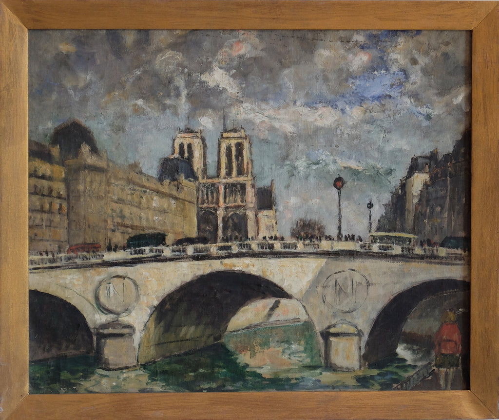 Maurice Fallies (1883-1965): Pont Napoléon et Notre-Dame. Oil on canvas. Sunshine through clouds on the Pont Neuf. Confident lines, soft colors with red accent on lower right.