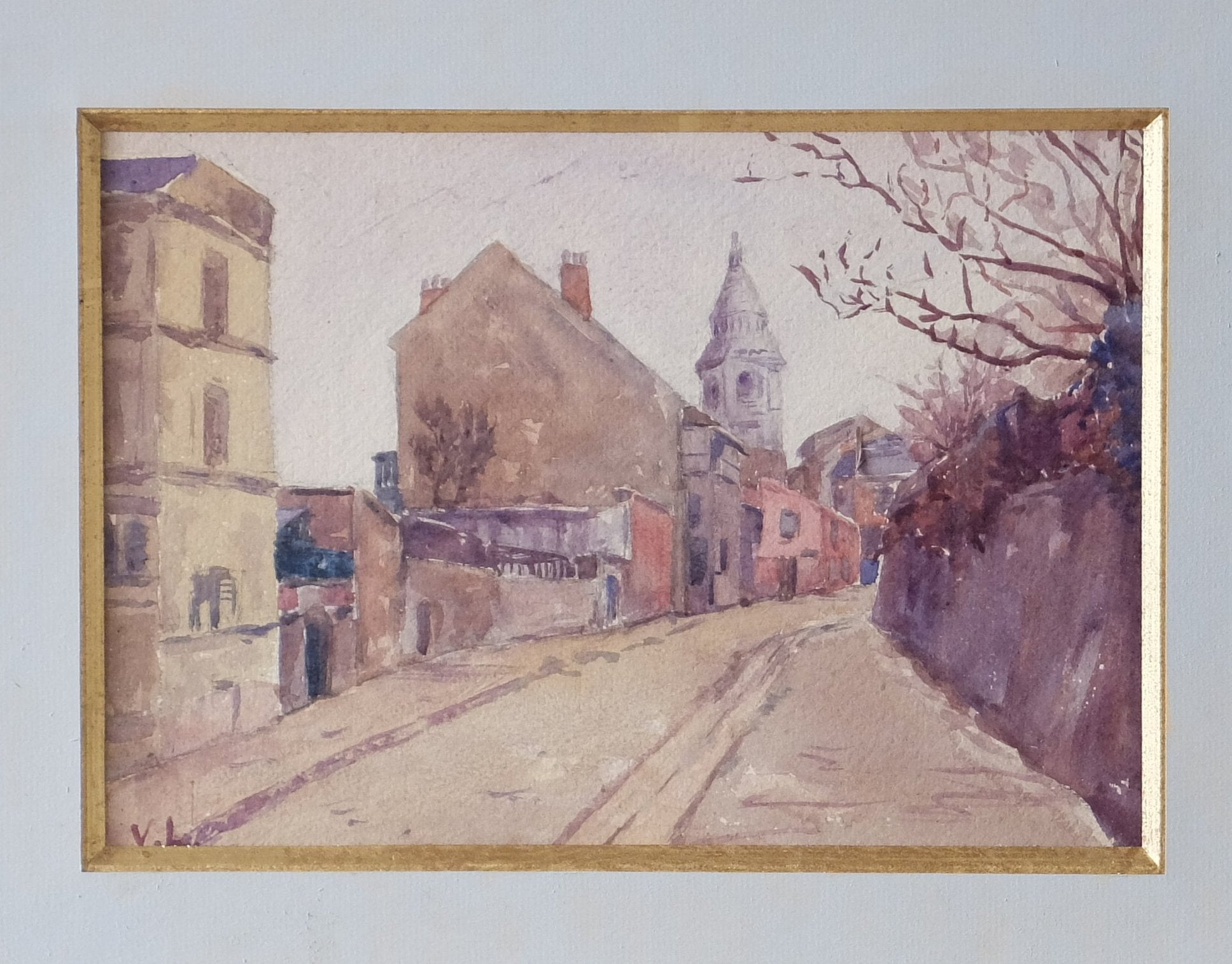 Original Paintings at Place Dauphine: Early twentieth century watercolor -- rue de l'Abreuvoir in Montmartre