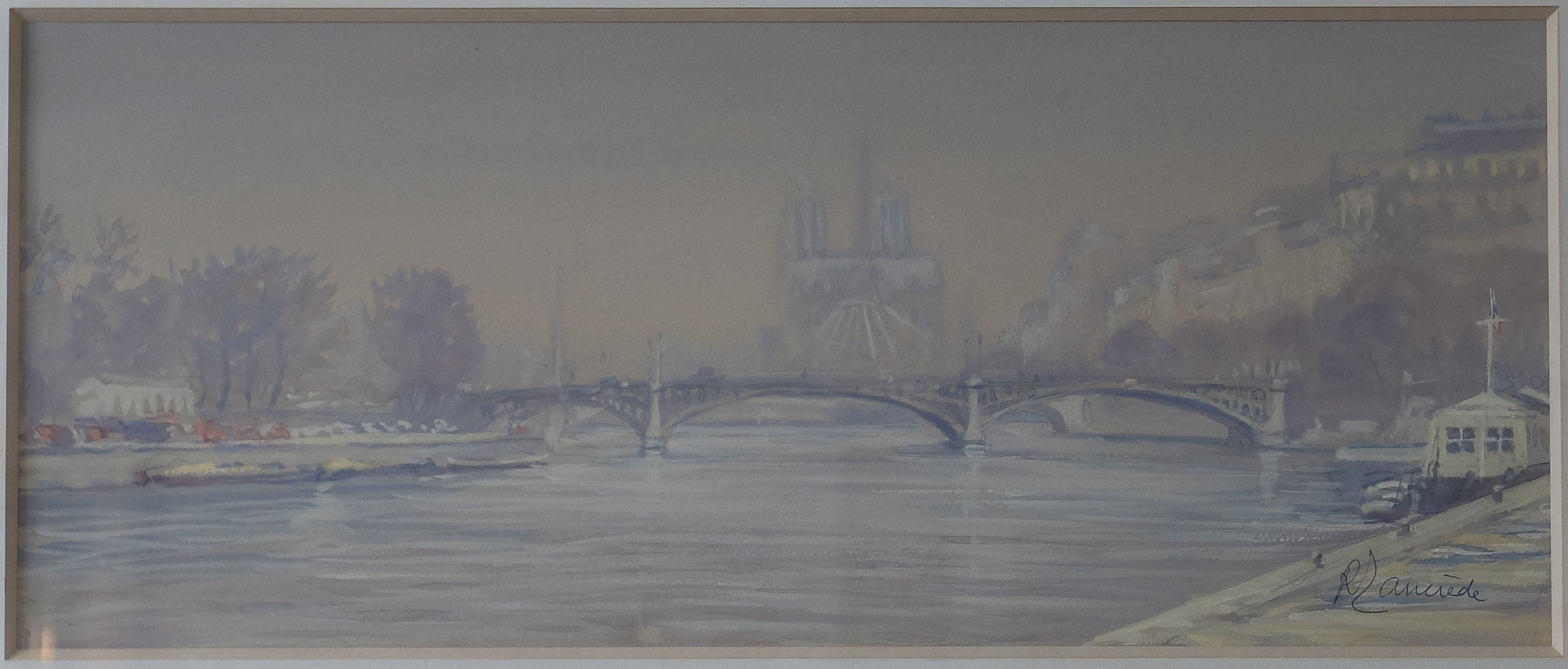 Original Paintings at Place Dauphine: Beautifully atmospheric watercolor from 1900's