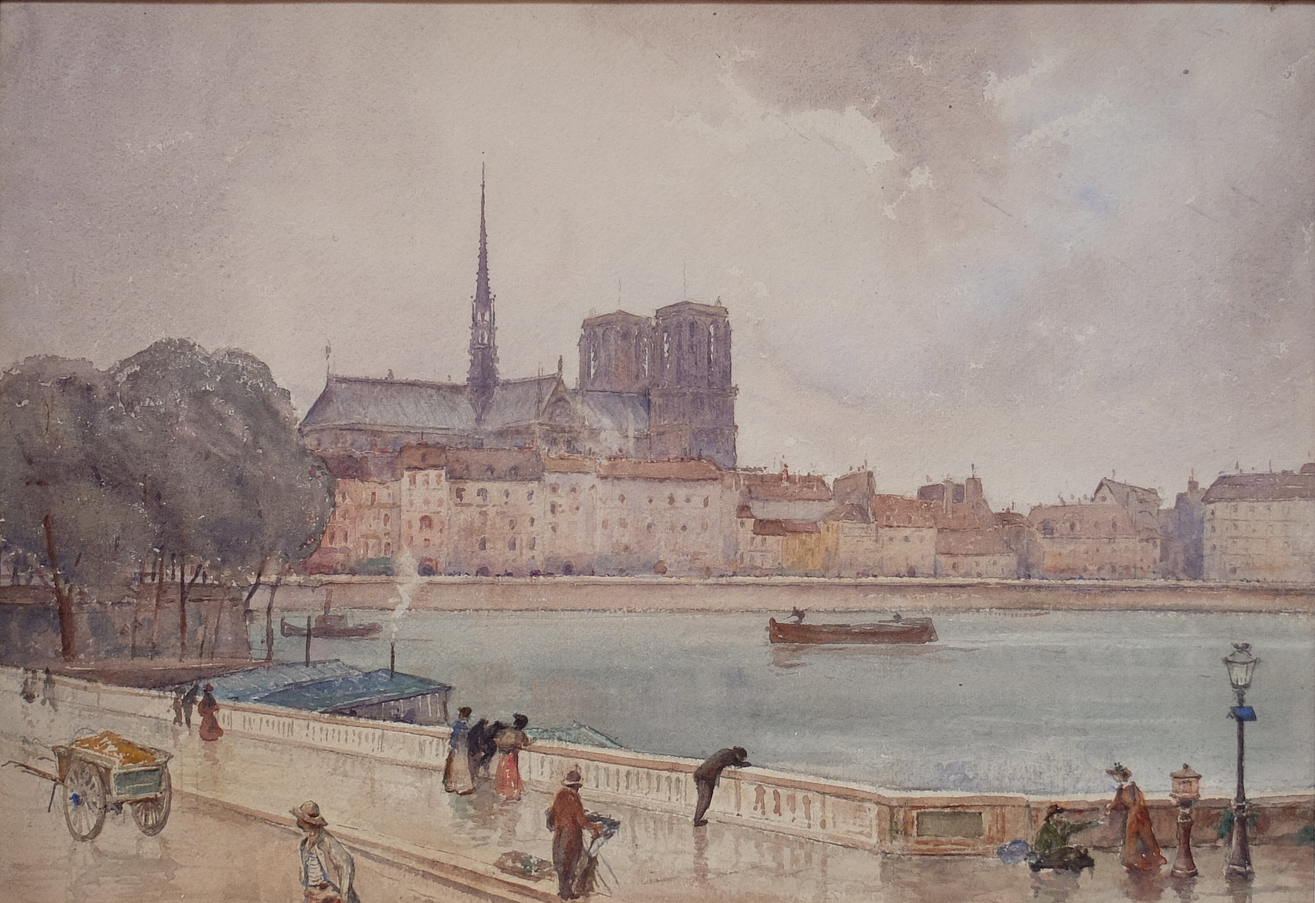 Original Paintings at Place Dauphine: Pont Louis Philippe ou Pont St. Louis, Paris