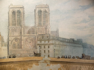 Original Paintings at Place Dauphine:  Watercolor and graphite painting; early twentieth century of Notre Dame and the Pont St. Michel