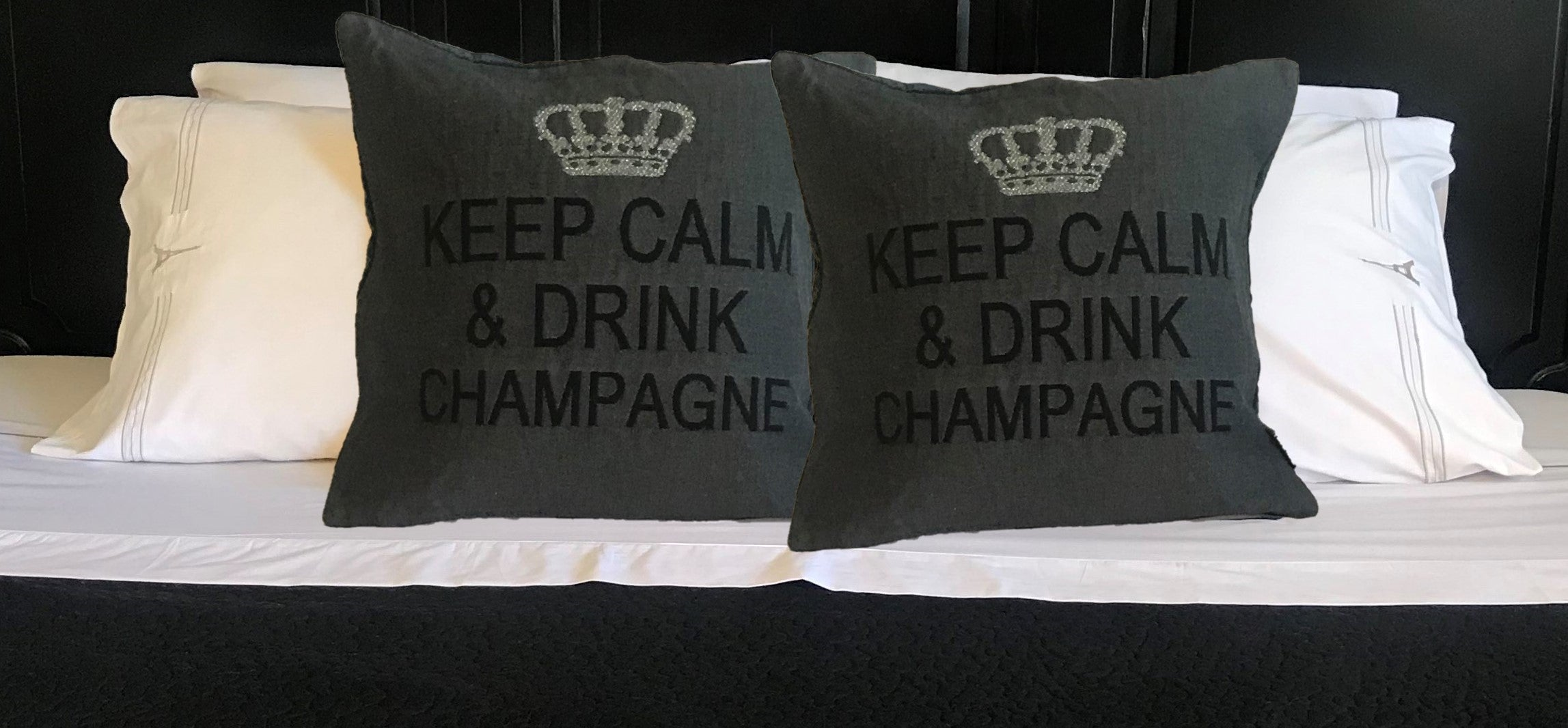 Keep Calm and Drink Champagne Decorative Pillow Cover - (Gray and Silver)
