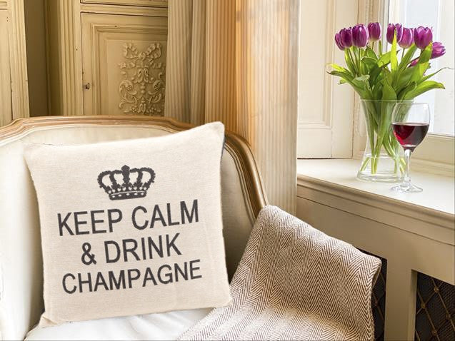 Keep Calm and Drink Champagne Decorative Pillow Cover - Set of 2 (Charcoal and Cream)