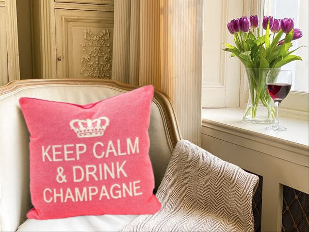 Keep Calm and Drink Champagne Decorative Pillow Cover - Set of 2 (Pink and Cream)