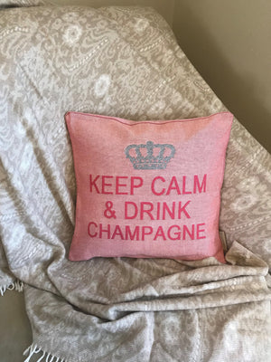 Keep Calm and Drink Champagne Decorative Pillow Cover - Set of 2 (Rose and Silver)