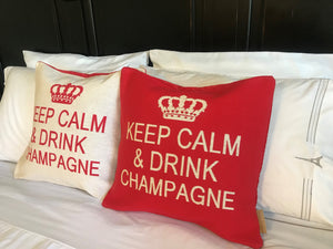 Keep Calm and Drink Champagne Decorative Pillow Cover - Set of 2 (Red and Cream)
