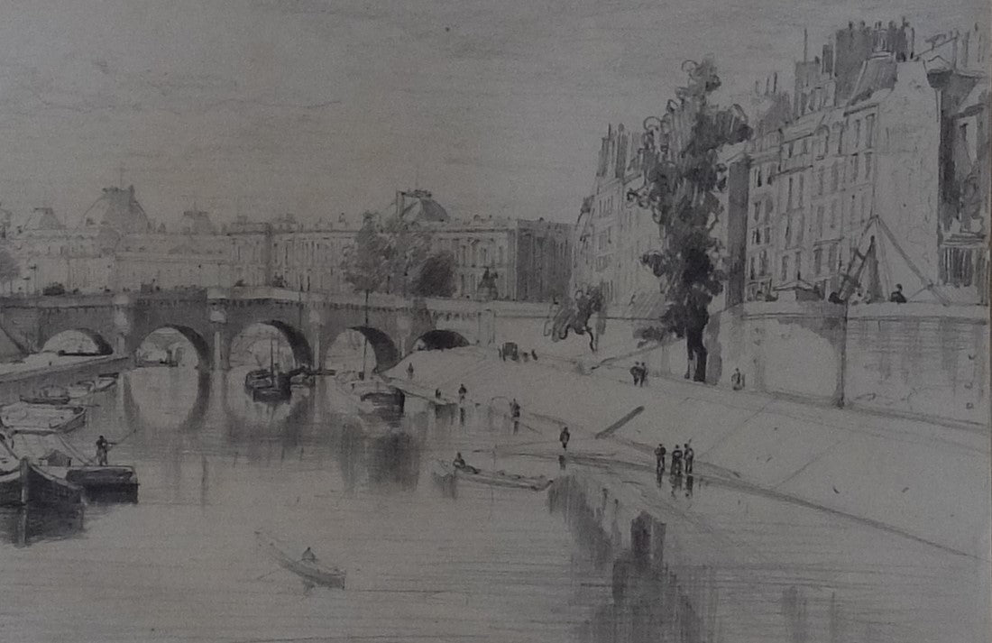 Original Paintings at Place Dauphine: Drawing Early 1900's