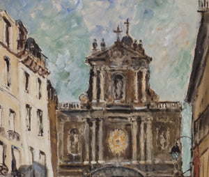 Maurice Fallies (1883-1965): St. Thomas Aquin Church Left Bank, Blvd. St. Germain.  Beautiful blues mixed with grays and browns; red jacket…  Memorable Paris scene.