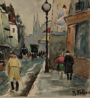 Original Maurice Fallies (1883-1965) : Colorful Parisian street view