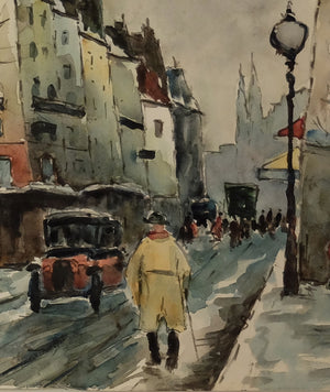 "Original Maurice Fallies (1883-1965) : Colorful Parisian street view (16""x12"")"
