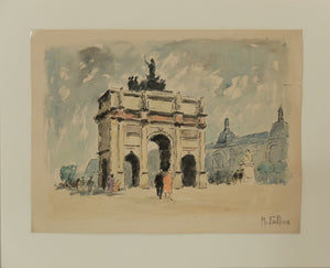 "Original Maurice Fallies (1883-1965) : Arc de Triomphe du Carrousel, Paris (13""x11"")"