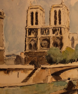 Original Maurice Fallies (1883-1965) : Notre Dame Front view 1926