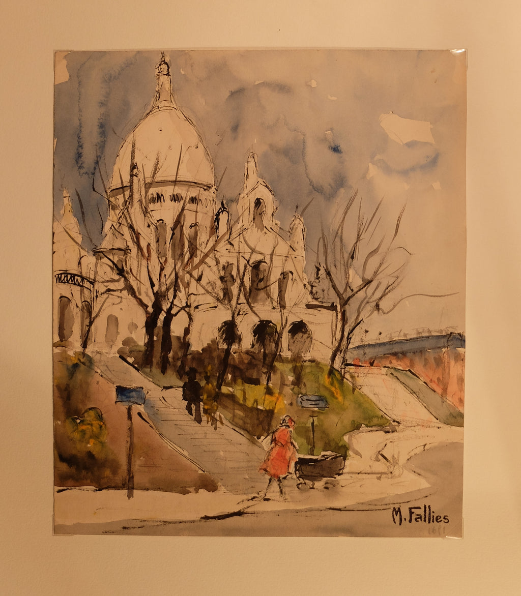 Original Maurice Fallies (1883-1965) : Sacré Coeur at Montmartre, Paris