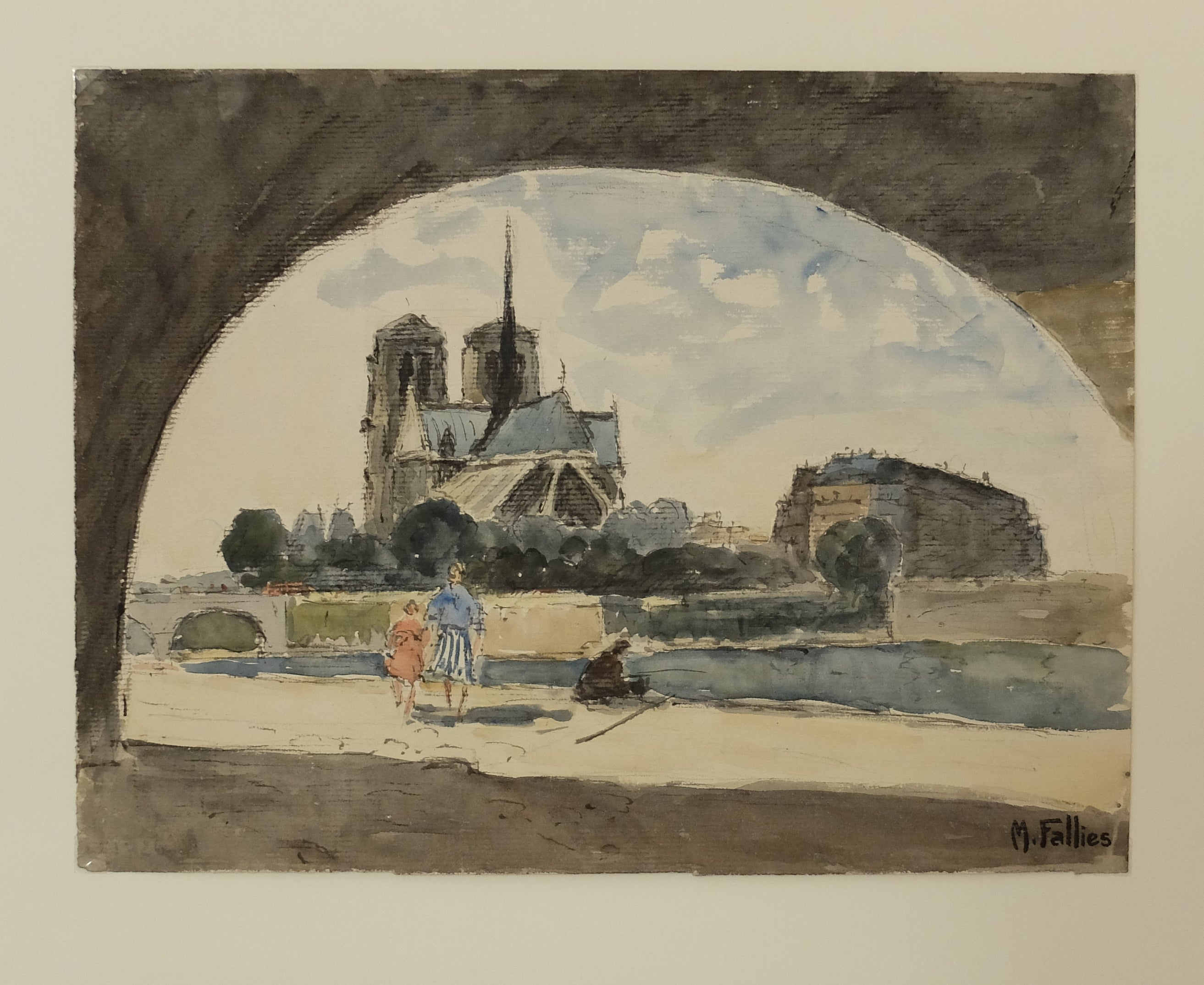 Original Maurice Fallies (1883-1965) : Notre Dame from the back & the Seine River