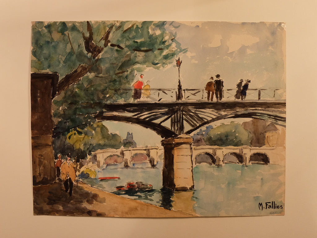 Original Maurice Fallies (1883-1965) : Pont des Arts, Paris