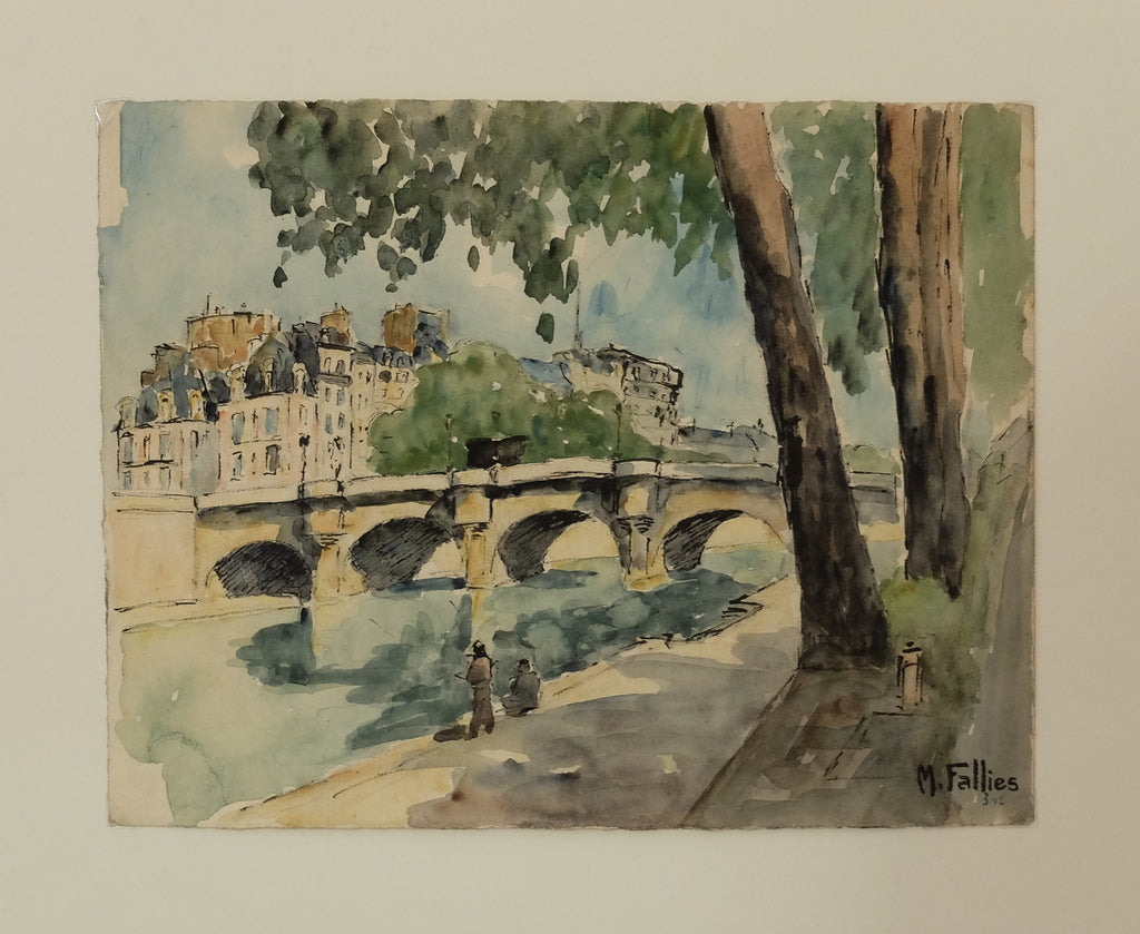 Original Maurice Fallies (1883-1965) : Pont Neuf Bridge & Seine River view