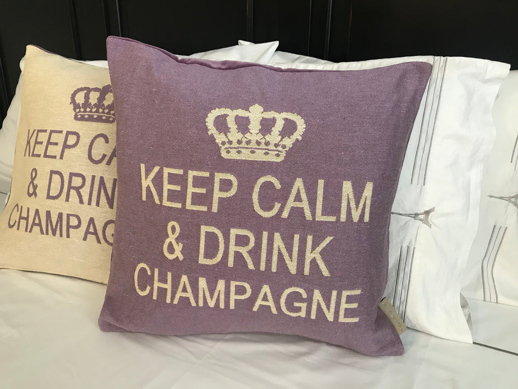 Keep Calm and Drink Champagne Decorative Pillow Cover - Set of 2 (Lilac and Cream)