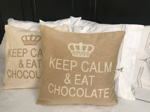 Keep Calm and Eat Chocolate Decorative Pillow Cover - Set of 2 (Sand and Cream)