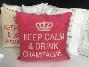 Keep Calm and Drink Champagne Decorative Pillow Cover - (Cream and Pink)