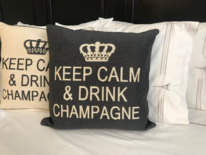 Keep Calm and Drink Champagne Decorative Pillow Cover - (Cream and Charcoal)