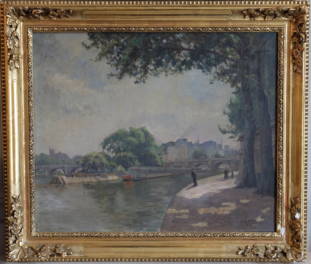 Original Paintings at Place Dauphine: La Place du Vert Galant