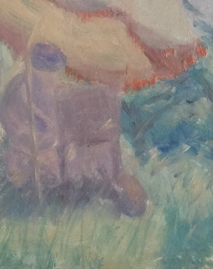 "Original Paintings at Place Dauphine: Impressionist style oil on canvas early twentieth representing a painter under his umbrella (9.5"" x 7"")"