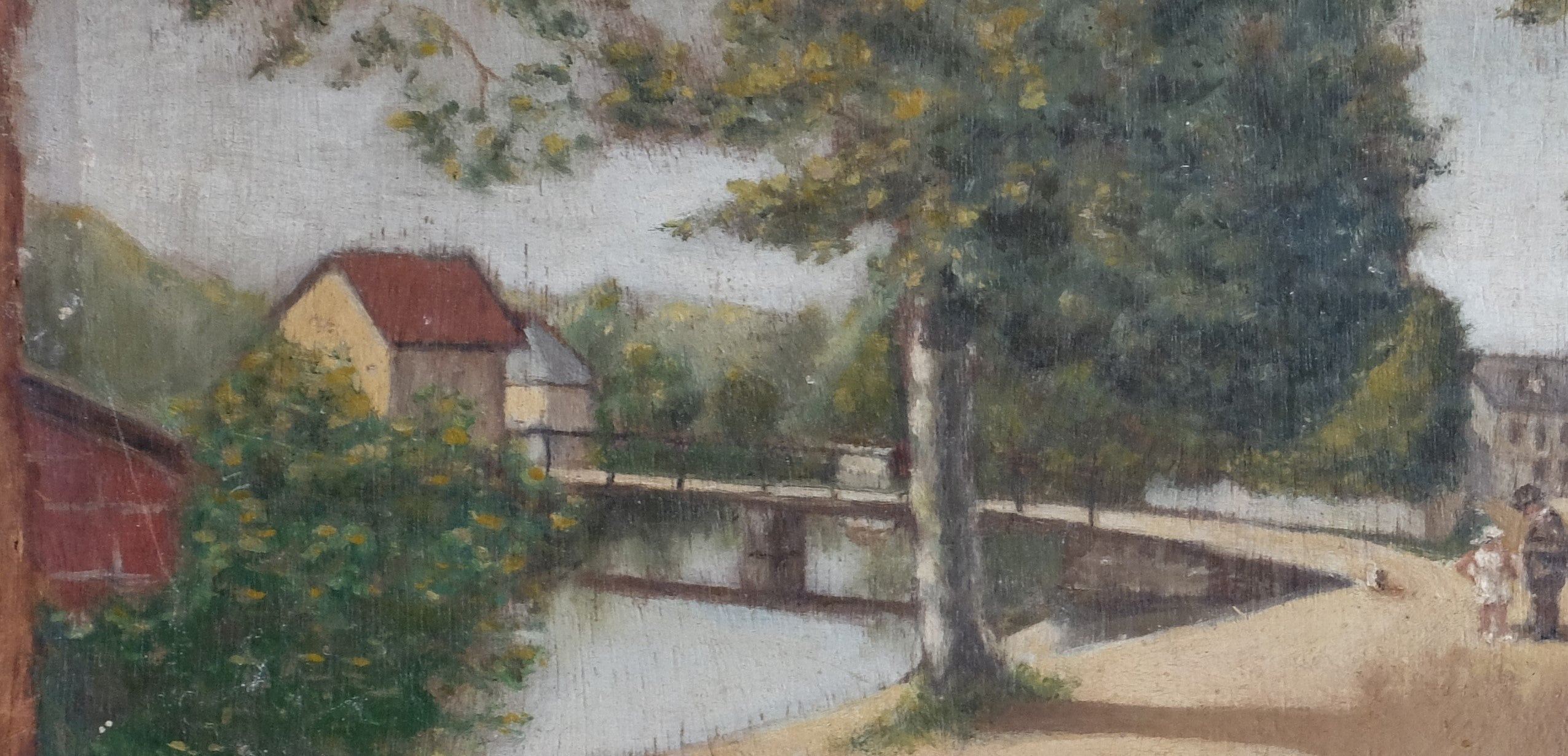 Original Paintings at Place Dauphine: Small impressionist style landscape