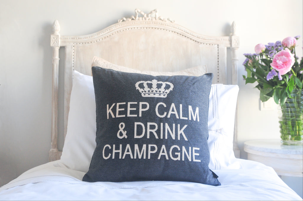 Keep Calm and Drink Champagne Decorative Pillow Cover - (Charcoal and Cream)