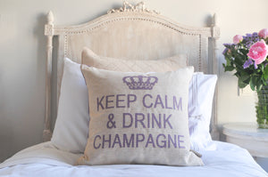 Keep Calm and Drink Champagne Decorative Pillow Cover - (Cream and Lilac)