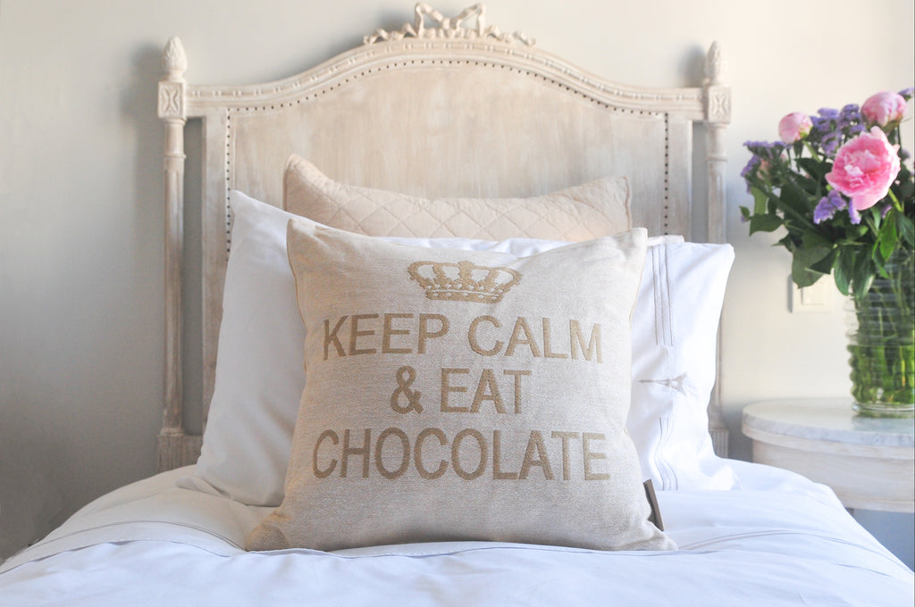 Keep Calm and Eat Chocolate Decorative Pillow Cover - (Cream and Sand)