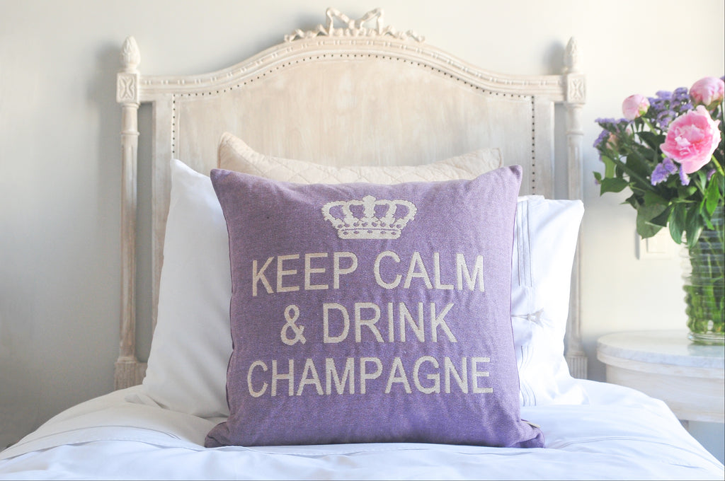 Keep Calm and Drink Champagne Decorative Pillow Cover - (Lilac and Cream)