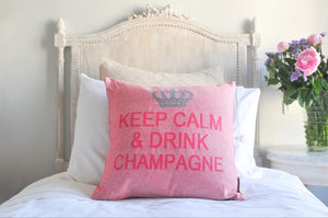 Keep Calm and Drink Champagne Decorative Pillow Cover - (Rose and Silver)
