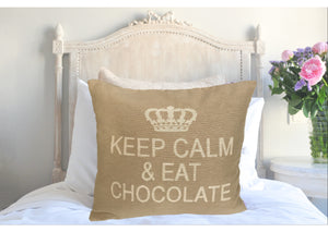 Keep Calm and Eat Chocolate Decorative Pillow Cover - (Sand and Cream)