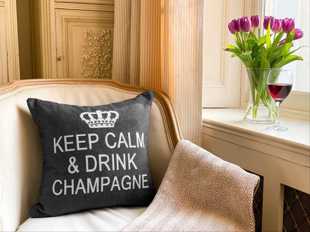 Keep Calm and Drink Champagne Decorative Pillow Cover - Set of 2 (Gray and Silver)