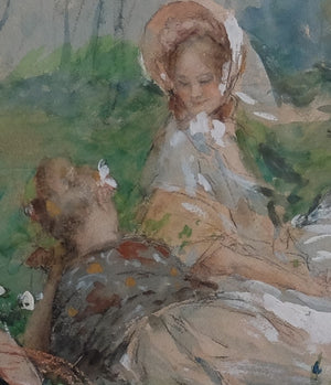 Original Watercolor : Picnic at the Park