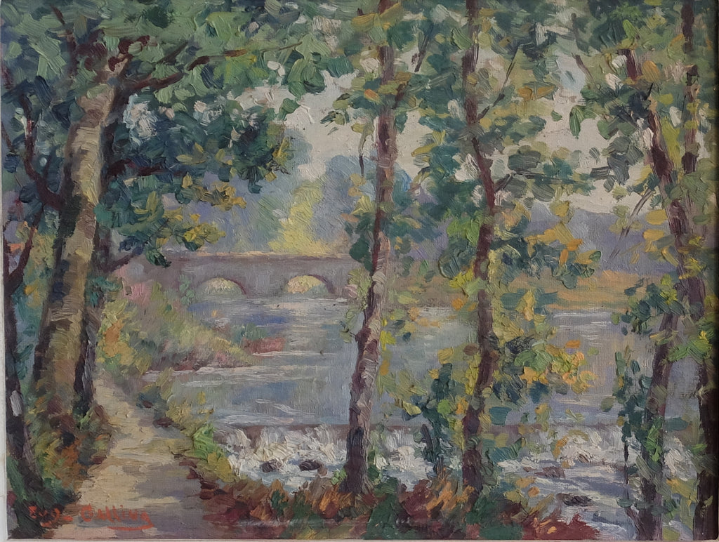 Original impressionist painting : Allong the Seine, E. Gallina (1879-1955)