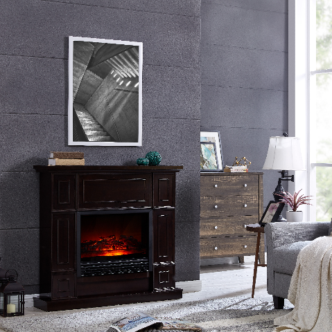 Dark Chocolate 44 inch Electric 5-level Flame Fireplace