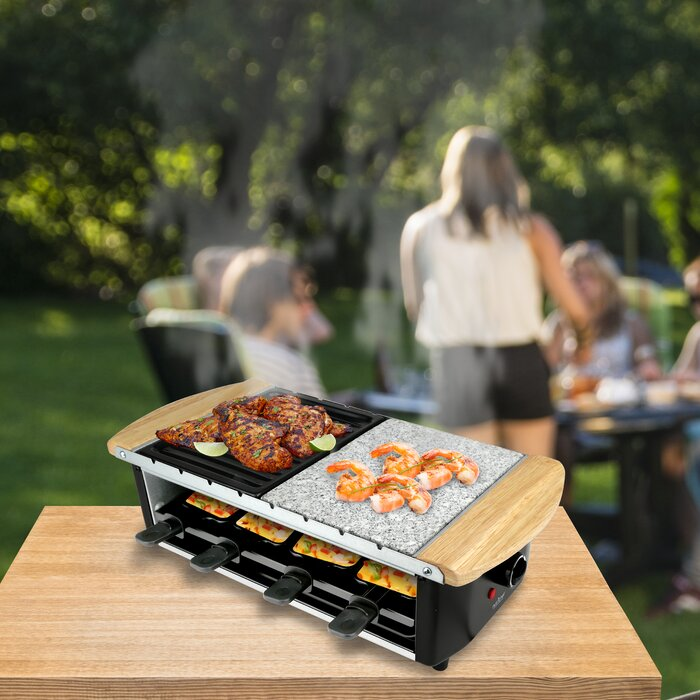 Granite Stone and Metal Grill Trays Two-Tier Party Raclette Dual Cooking Surfaces