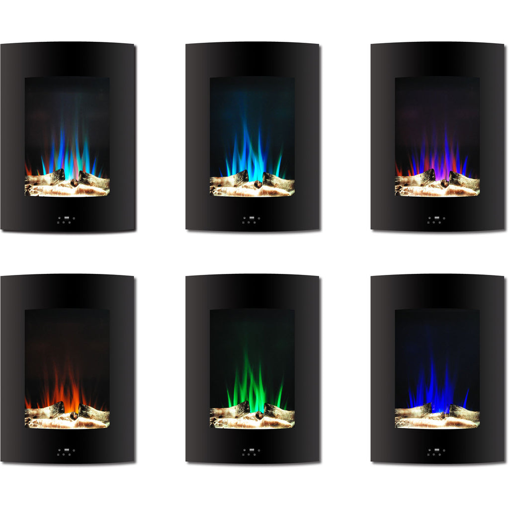 Vertical Electric Fireplace Heater Multi-Color LED Flames and Driftwood Log Display
