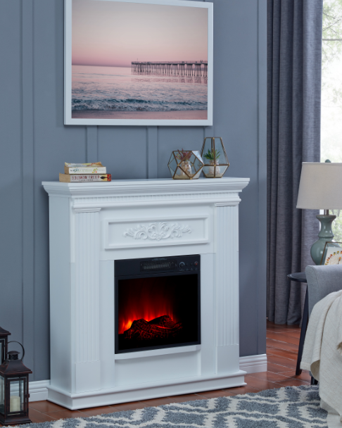 White Home and Office Bold 5-level Flame 38 Inch Wall Corner Electric Fireplace