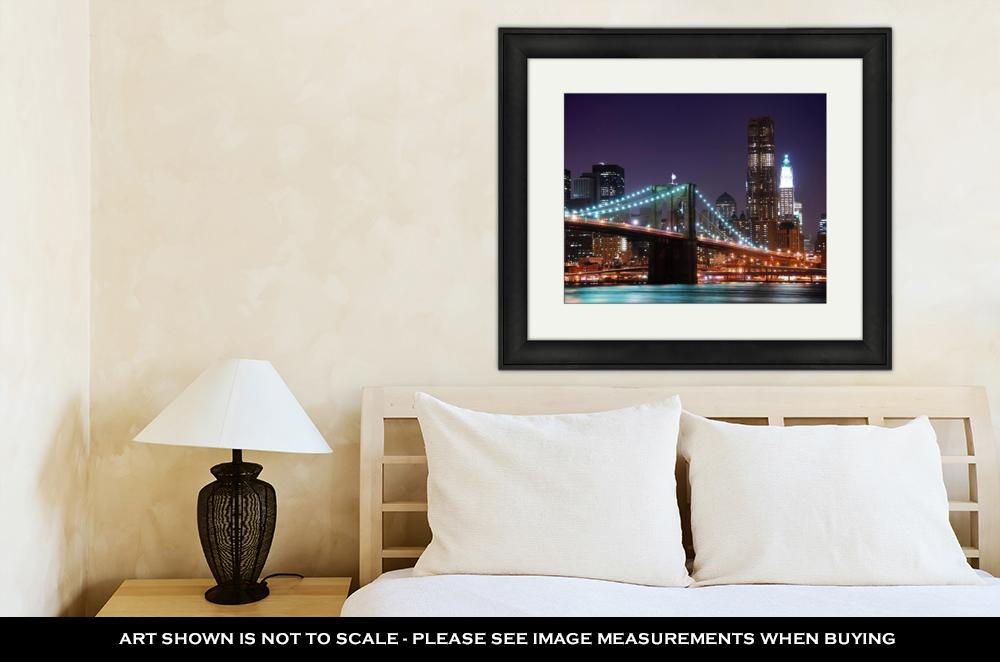 Framed Print, New York City Brooklyn Bridge Manhattan Skyline Skyscrapers Over