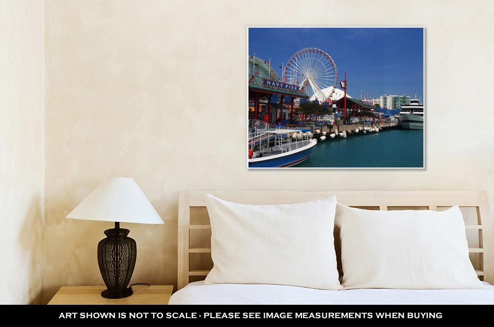 Gallery Wrapped Canvas, Looking Down Navy Pier On Sunny Day In Chicago