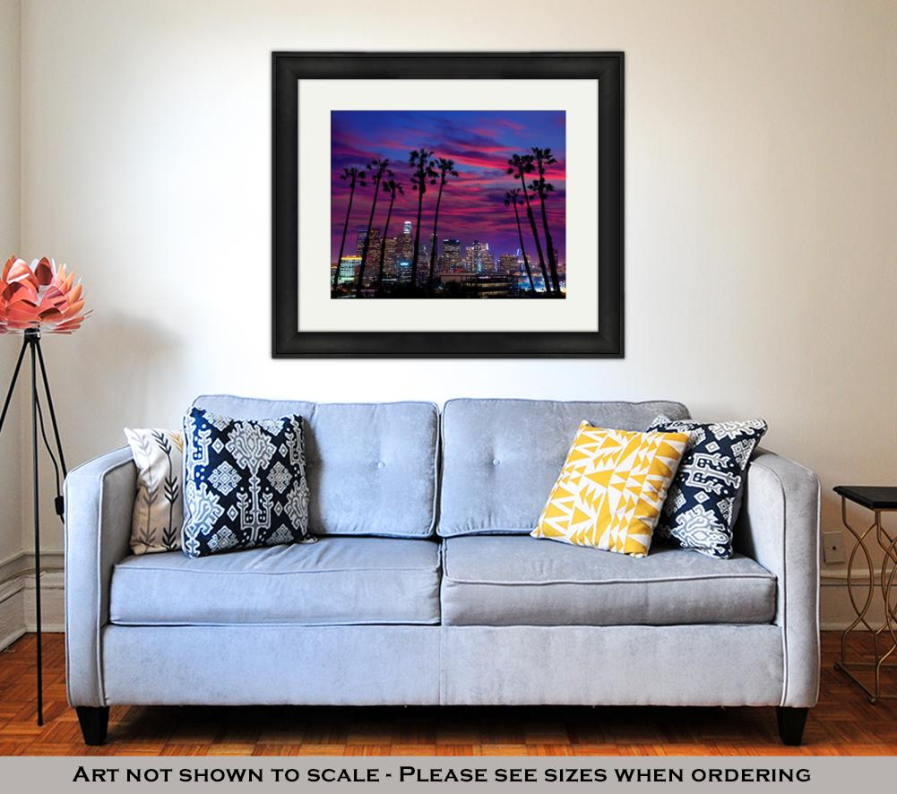 Framed Print, Downtown La Night Los Angeles Sunset Colorful Skyline California