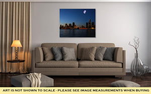 Gallery Wrapped Canvas, Night Skyline Detroit
