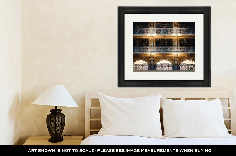 Framed Print, Balconies Inside Peabody Library Mount Vernon Baltimore Maryland