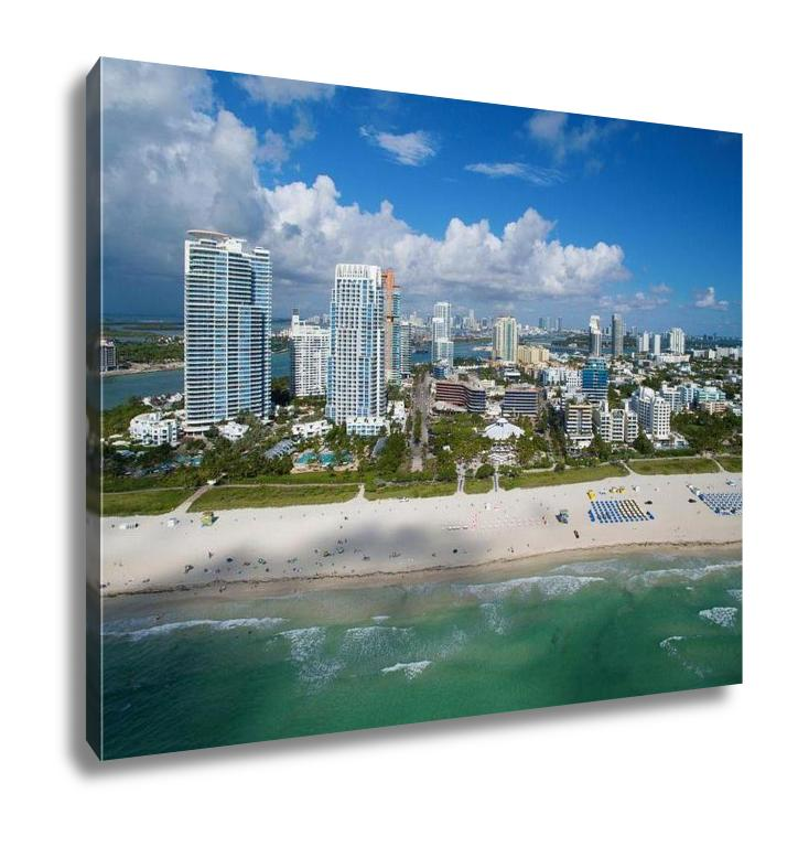 Gallery Wrapped Canvas, Aerial Miami Beach Drone Photo Taken Over Ocean