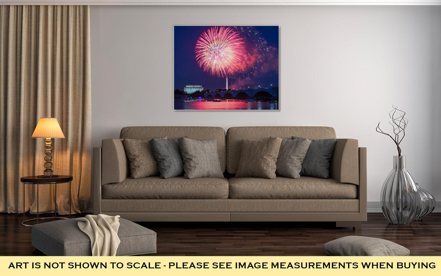 Gallery Wrapped Canvas, Lincoln Memorial Fireworks Over Washington Dc