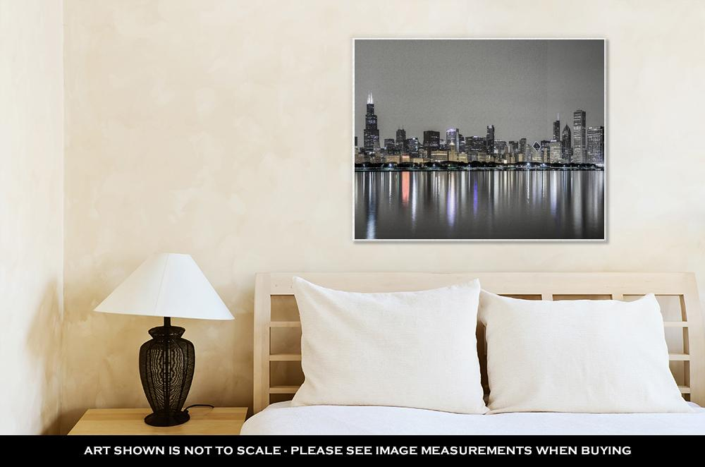 Gallery Wrapped Canvas, Chicago Skyline Night Over Lake Michigan